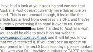 Australia Post employee responded in the most perfect way to a tracking inquiry.Source:Facebook