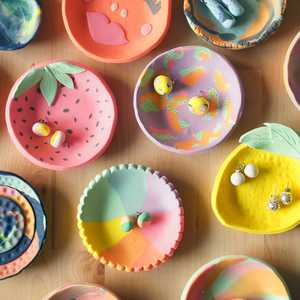 Learn to make your very own colourful ring dishes with polymer clay. Led by designer & maker, Therese Lyons of Ena & Albert.