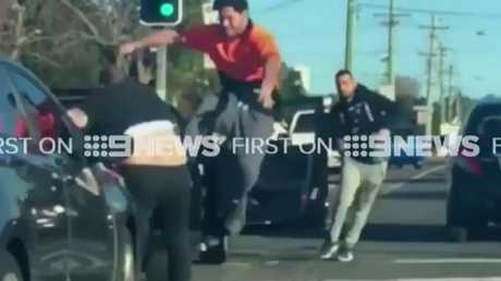 Dash camera footage of a four man brawl which erupted in Merrylands yesterday.