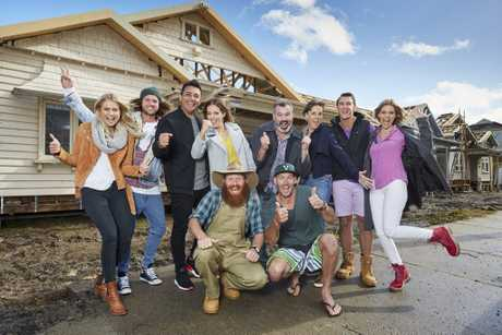 The Block's 2017 teams, from left, Josh and Elyse, Ronnie and Georgia, Sticks and Wombat (front), Jason and Sarah and Clint and Hannah.