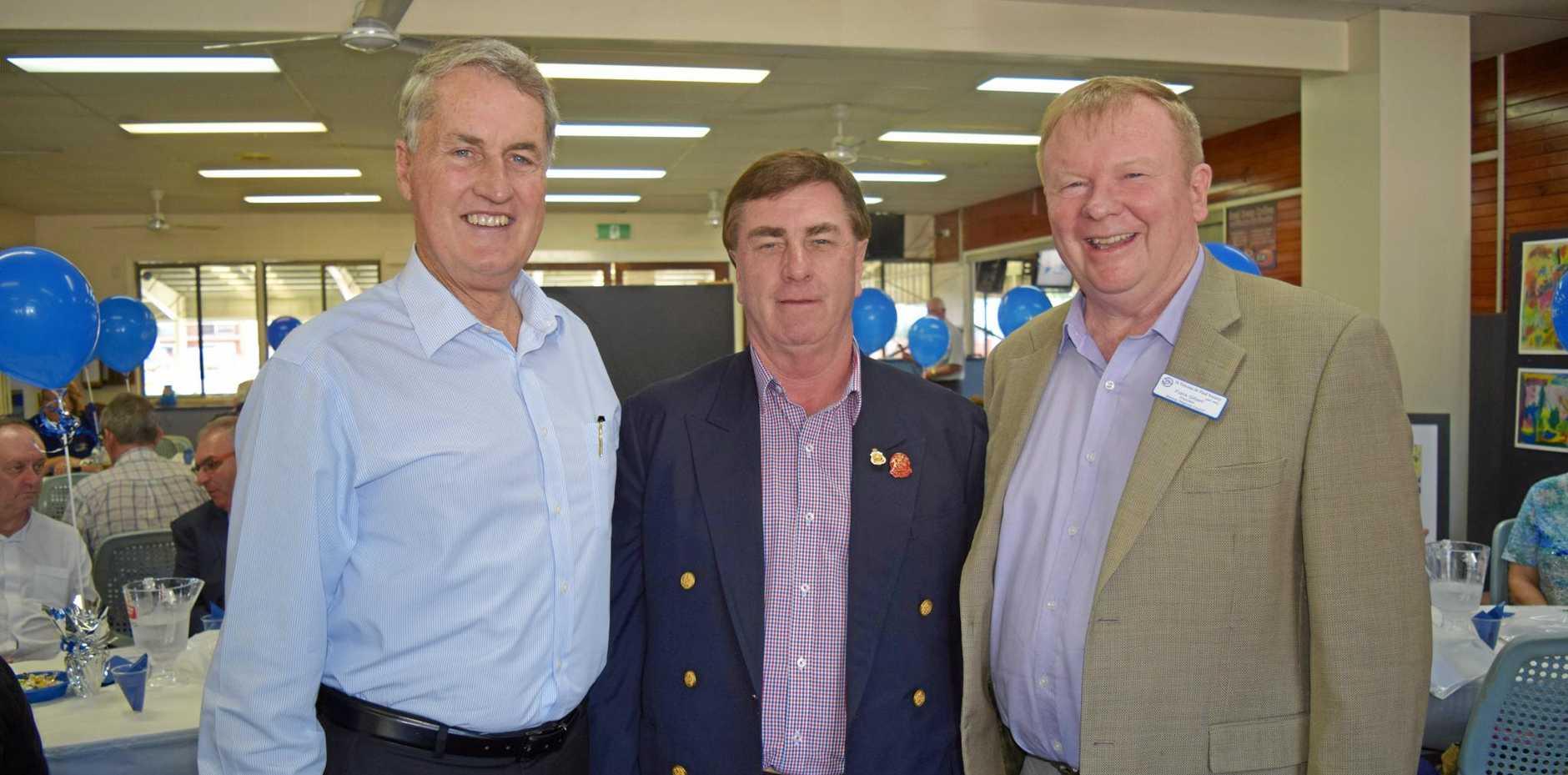 GIVING BACK: Mayor Greg Williamson,  former tenant Bill Black and Frank Gilbert at the  Vinnies 10 year anniversary.