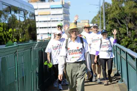 Former Ipswich Mayor John Nugent leads the pack in the annual 50km Ipswich Cares Walk. Photo: David Nielsen / The Queensland Times