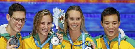 Australia's Mitchell Larkin, Bronte Campbell, Emma McKeon and Daniel Cave show off their silver medal after the mixed medley relay final.