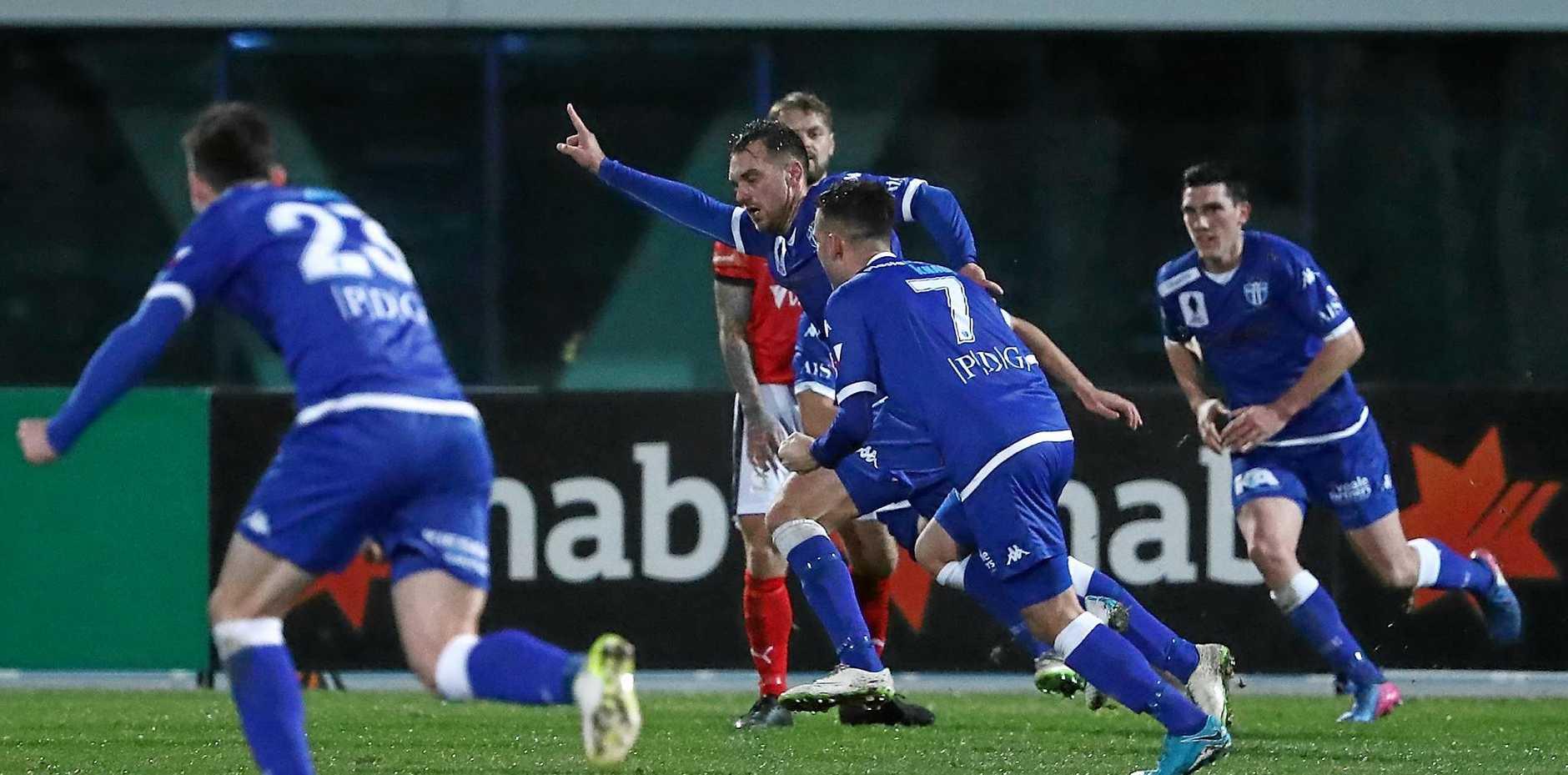 Milos Lujic of South Melbourne celebrates after scoring against Edgeworth.
