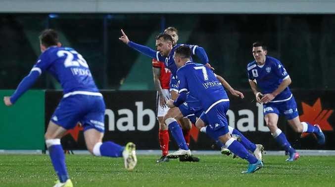 Milos Lujic of South Melbourne celebrates after scoring against Edgeworth.