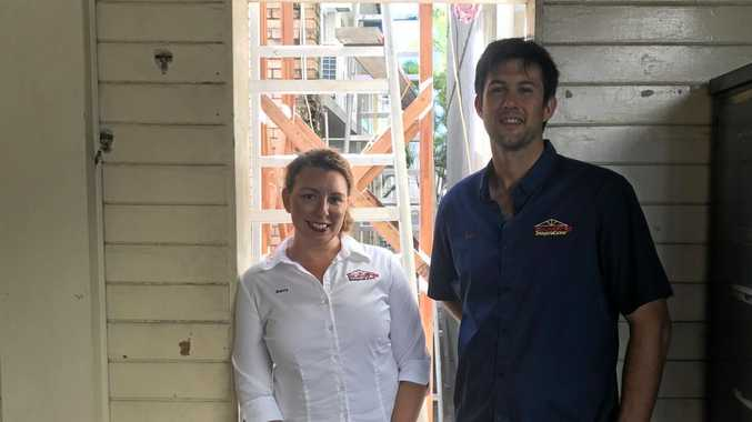 Building Imagination business manager Kerry Kennell and Joshua Boyd on the construction site of their CQUniversity City Campus project.