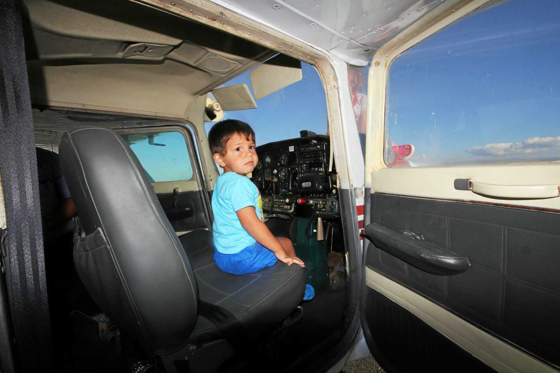 Little Deacon Lorraway at the controls of the Cessna 172 which will be on display at this weekend's Fun Day on the Runway.