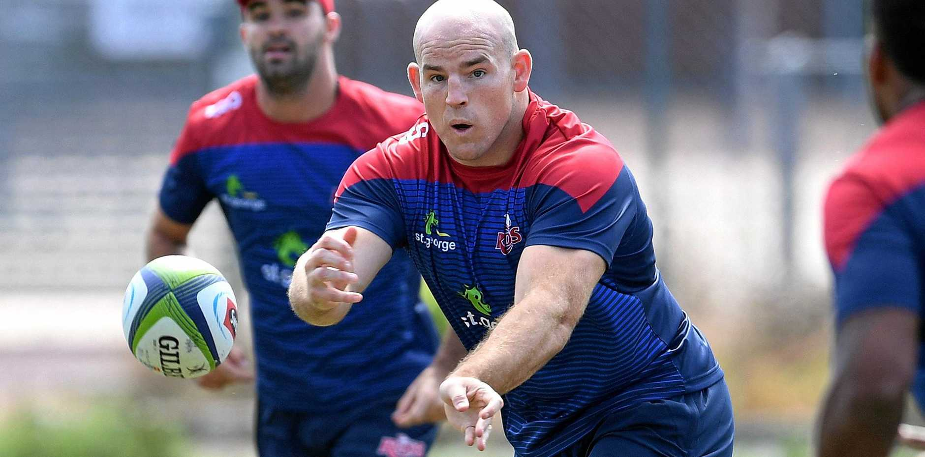 Queensland Reds player Stephen Moore in action during training in Brisbane.