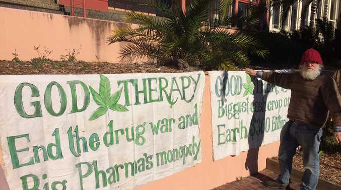 Protest outside Lismore Courthouse as 31 people set to face trial over drug charges.