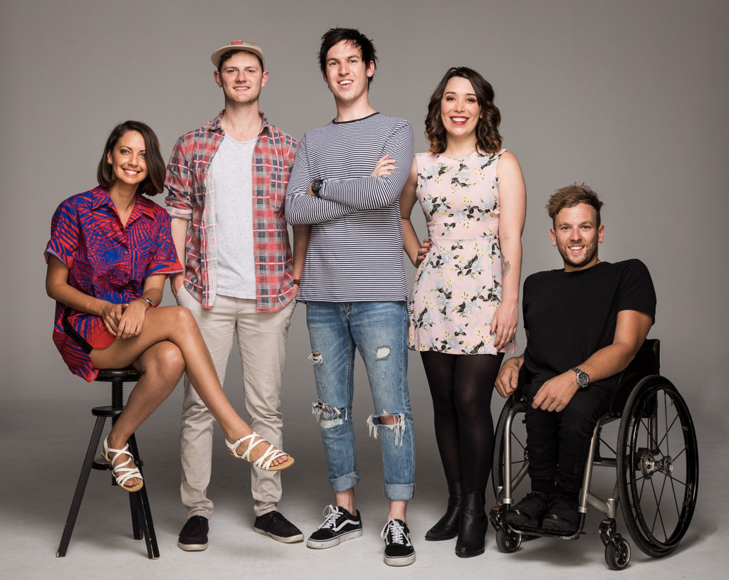 Triple J radio's 2017 breakfast team, from left, Brooke Boney, Ben & Liam, Gen Fricker and Dylan Alcott. Supplied by Triple J.