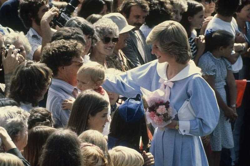 Diana, Princess of Wales, greets a crowd during her visit to Stirling Oval, Canberra, Australia, March 26, 1983