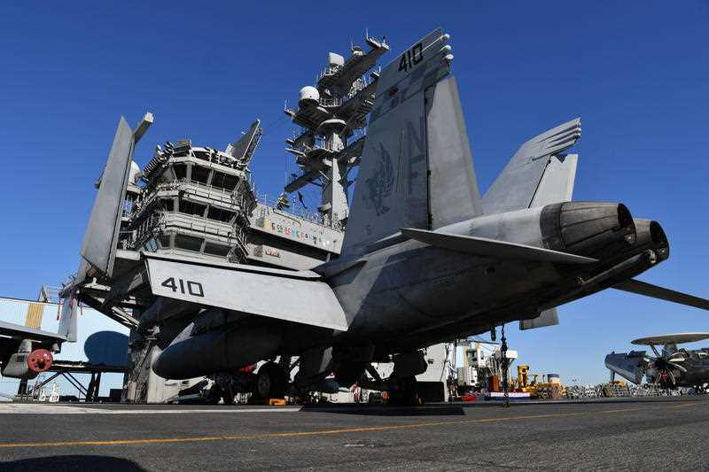 F18 Super Hornet's aboard the USS Ronald Reagan in Brisbane, Tuesday, July 25, 2017. Exercise Talisman Saber 2017 involved more than 30,000 Australian and United States military personnel in the planning and conduct of air, land and maritime war games.