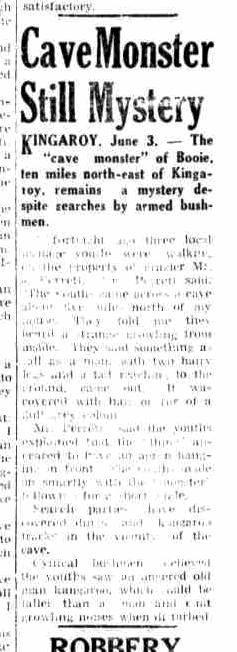Cave Monster Still Mystery, Maryborough Chronicle, June 4, 1954