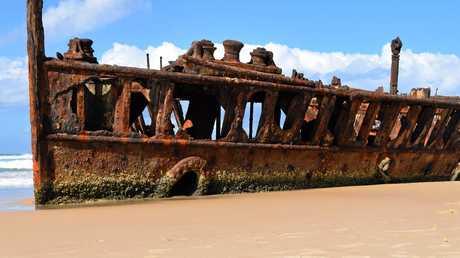 The famous Maheno shipwreck on Fraser Island