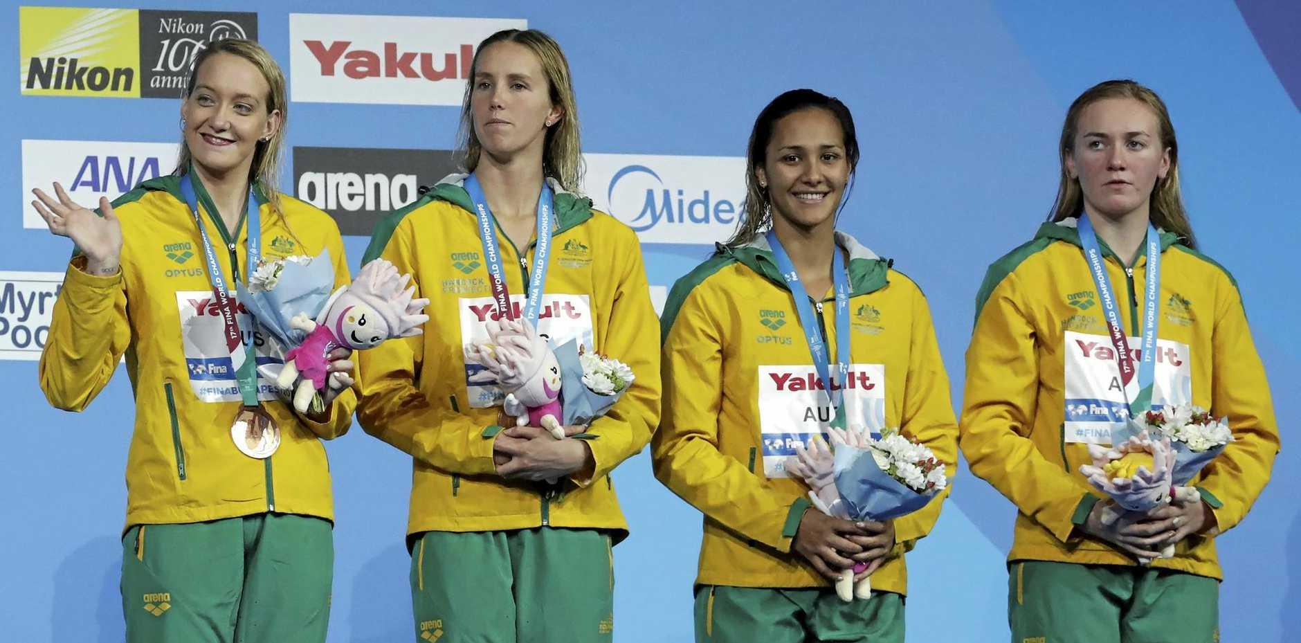 Australia's 4x200m bronze medal winners Madison Wilson, Emma McKeon, Kotuku Ngawati and Ariarne Titmus.