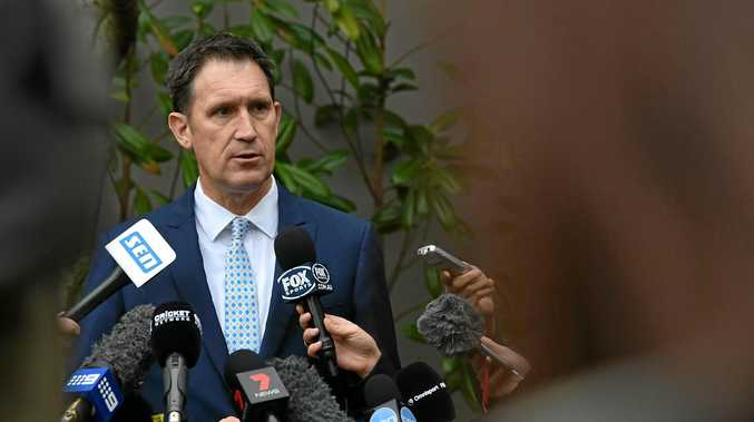 PAY PROBLEMS: Cricket Australia CEO James Sutherland addresses the media outside of the Cricket Australia head office earlier this week.