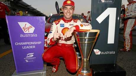 Scott McLaughlin celebrates winning race 1 in Townsville.