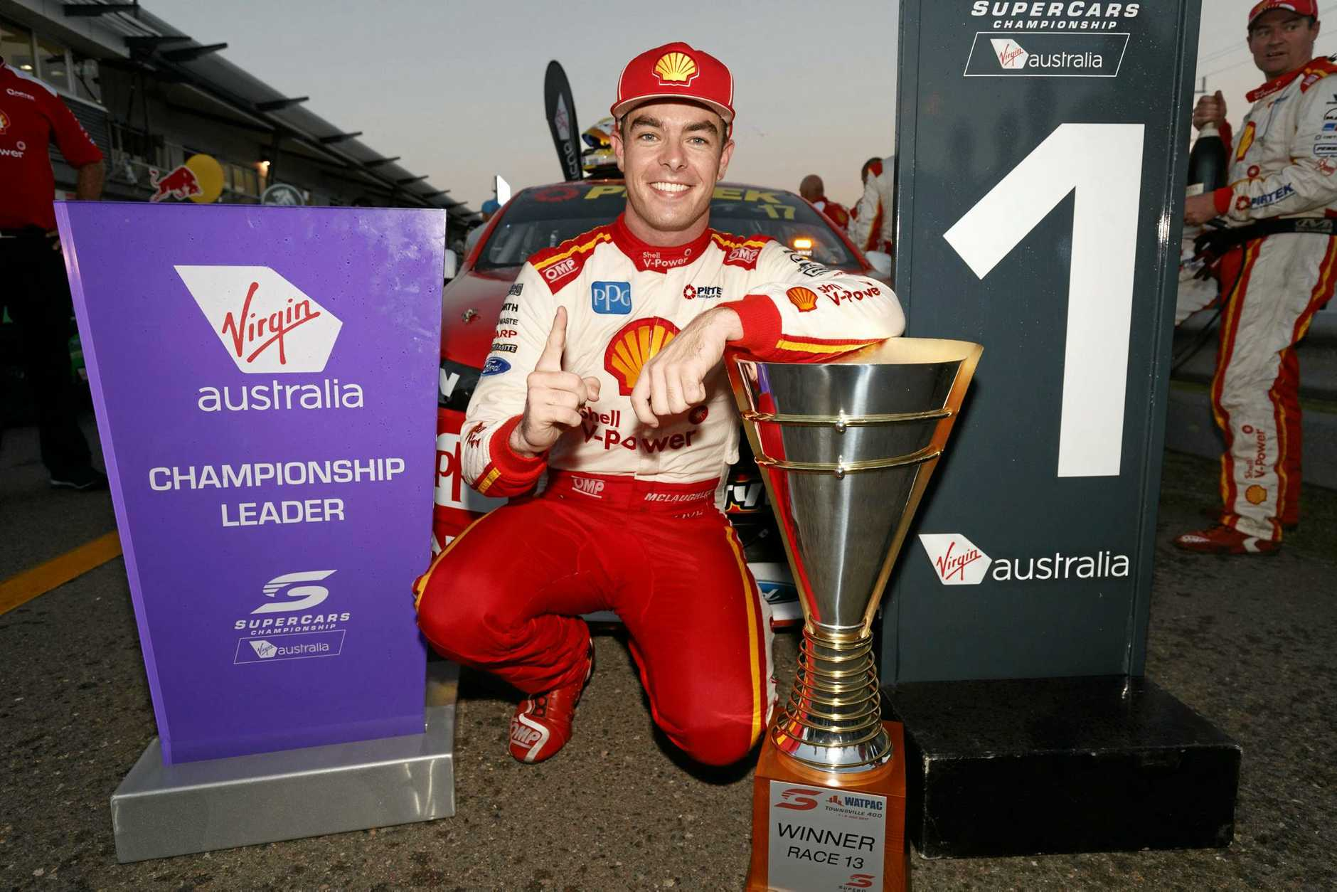 Scott McLaughlin celebrates winning race 1 in Townsville.
