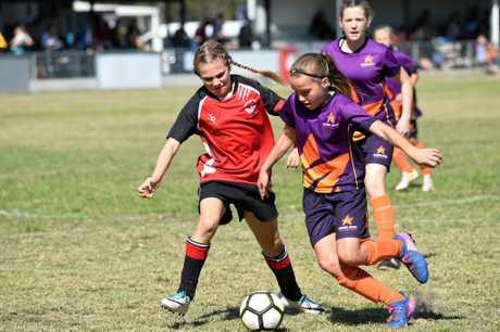 Wide Bay's Tanina Bradley (Bundaberg). Qld School Sport 10-12yrs Football Championships at Hervey Bay: Wide Bay v Sunshine Coast.