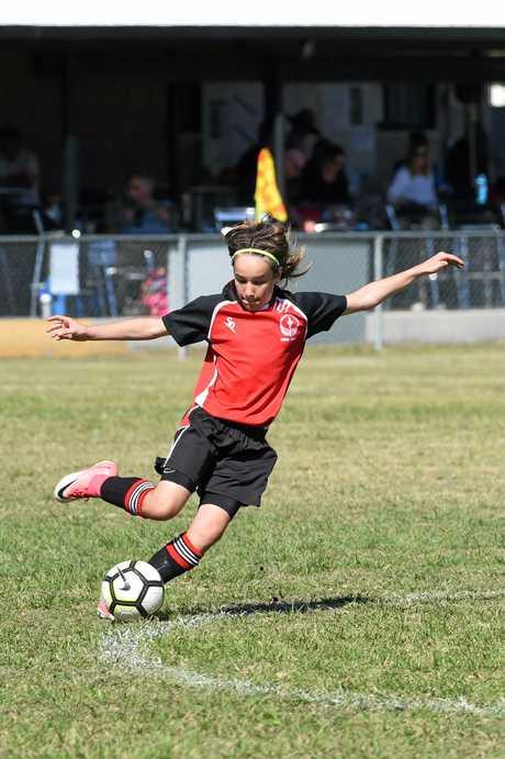 Wide Bay's Taylor Stumer (Bundaberg). Qld School Sport 10-12yrs Football Championships at Hervey Bay: Wide Bay v Sunshine Coast.