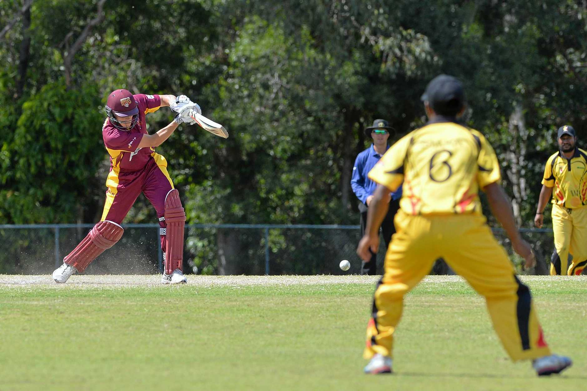PRE-SEASON ACTION: Bulls player Charlie Hemphrey blazes away for Queensland in a match against Papua New Guinea at Buderim last year.