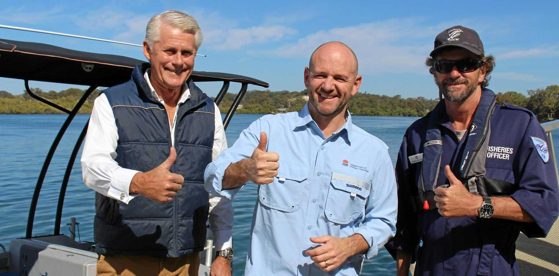 NSW Minister for Primary Industries Niall Blair announces a $1.1M artificial reef for the Tweed Coast alongside Tweed MP Geoff Provest and Department of Fisheries officer Andrew Boughton.