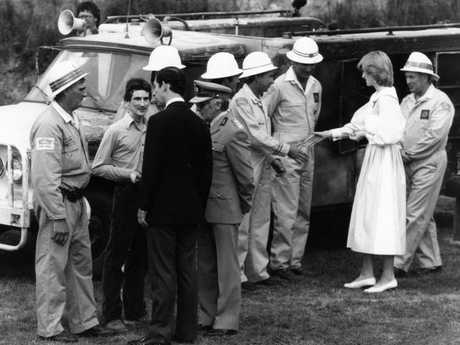 'A cracking sense of humour' ... Prince Charles also impressed Phil, as the royals met the CFS crew at SA's Stirling Oval in March 1983.