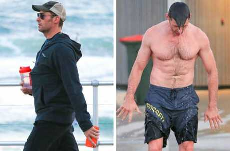 Taking a stroll along the beach with protein shake in hand, left, and right, he may be getting close to 50-years-old — but his body still looks fit. Picture: Matrix Media