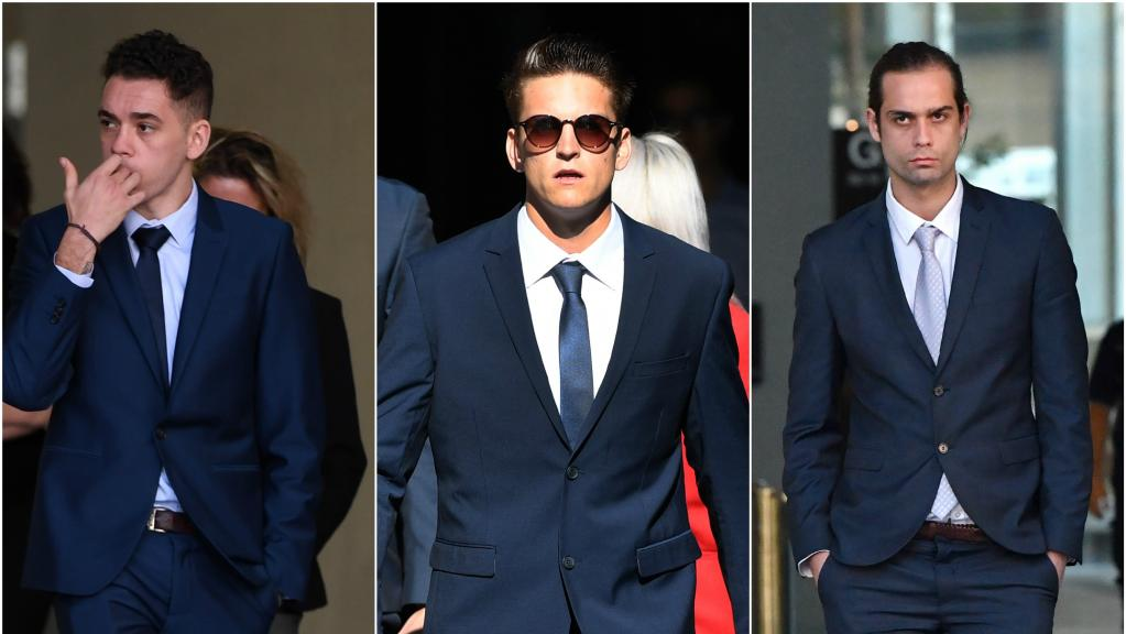 Bailey Joseph Hayes-Gordon, Nicholas William Jackson and Jacob Michael Watson were found guilty of raping their mate with a beer bottle on Australia Day two years ago.