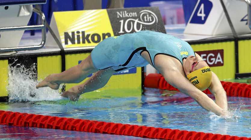 Australia's Emily Seebohm starts her women's 200m backstroke semi at the world championships.