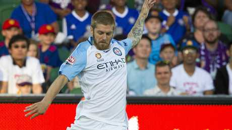 Luke Brattan playing for Melbourne City in the A-League against the Perth Glory.