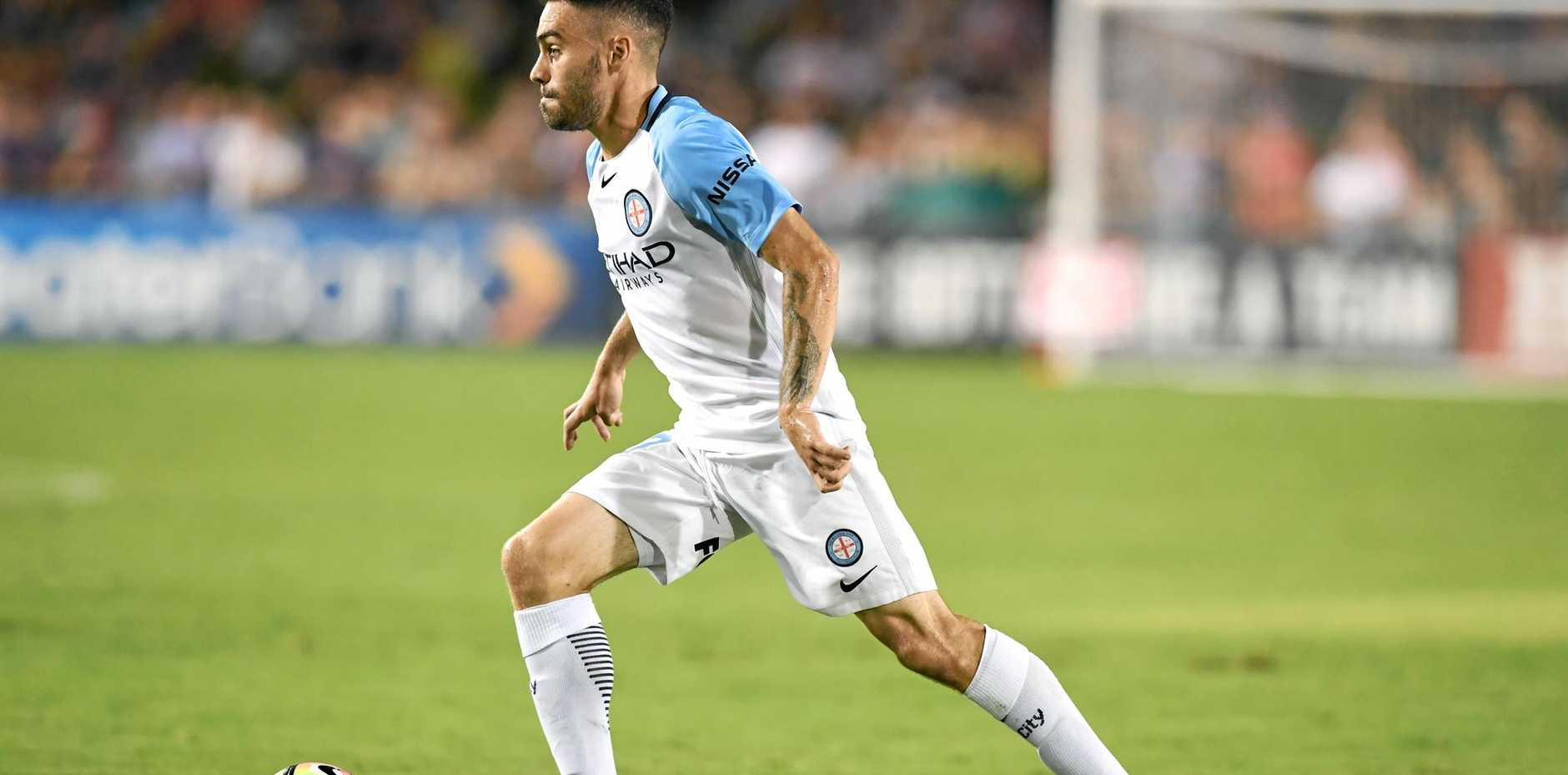 Anthony Caceres of Melbourne City dribbles the ball in round 17.