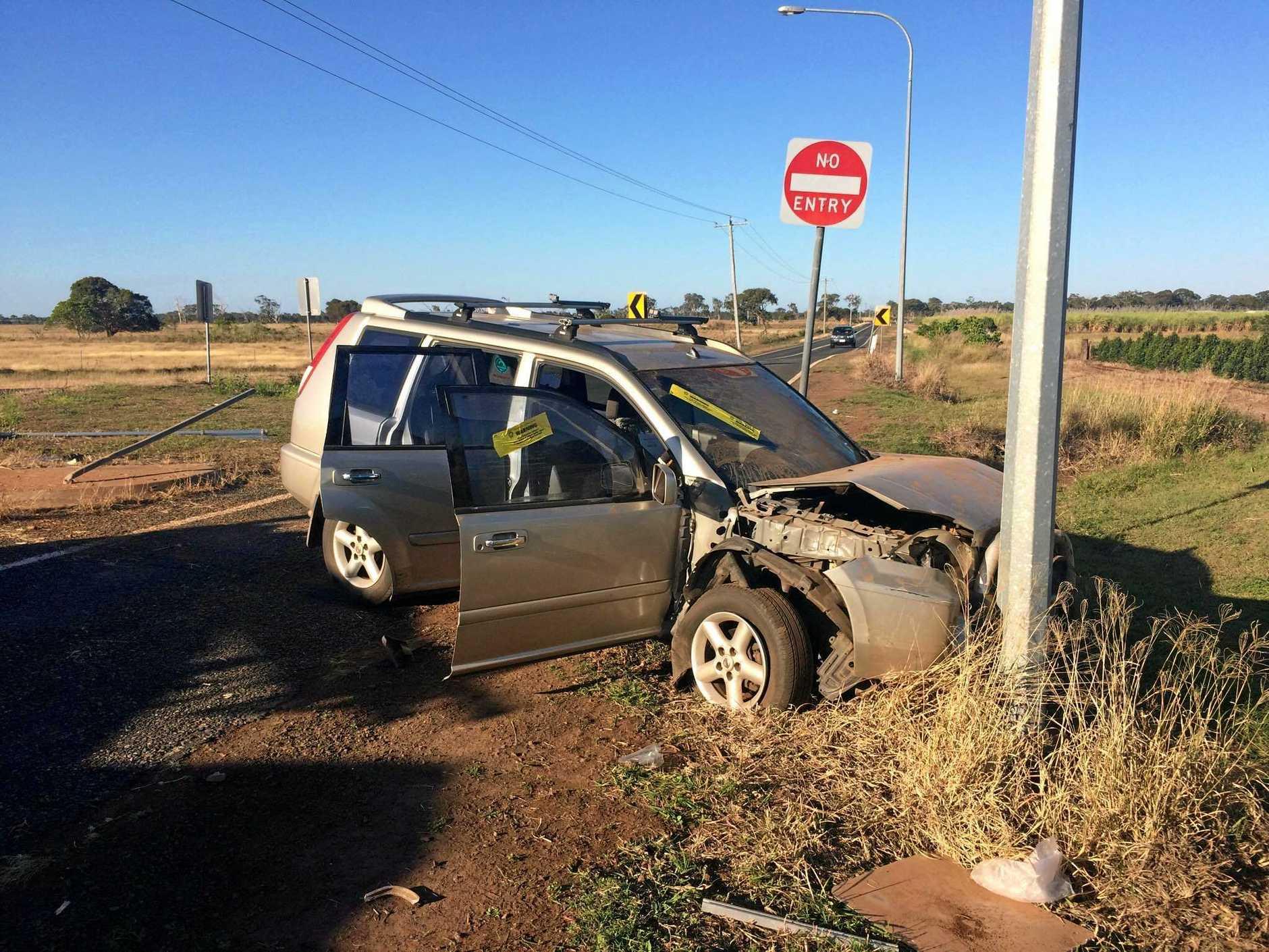The scene of single-vehicle crash into a power pole.