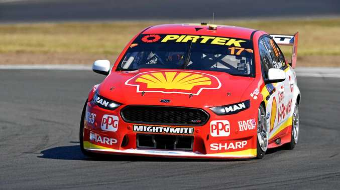 Scott McLaughlin in the Shell V-Power Racing team Ford Falcon during practice for the Ipswich SuperSprint round of the Supercars championship at Queensland Raceway.