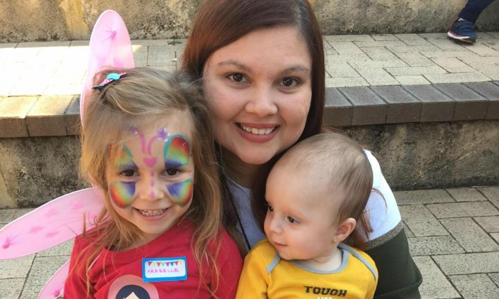 Carol with her daughter Arabelle, 4, and son Zavier, 8 months. Image: Supplied