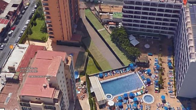 An aerial view of the Apartments Payma posted on the Kirsty Maxwell Information Appeal Facebook page. CCTV caught Ms Maxwell hitting the concrete near the pool after falling from a 10th floor balcony.
