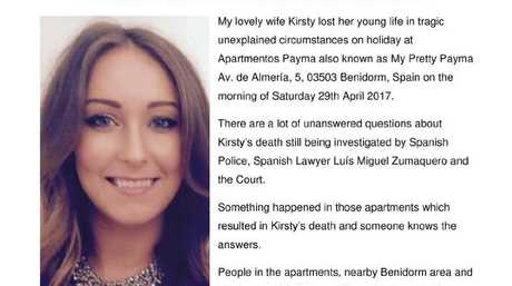 One of the flyers circulated by Kirsty Maxwell's husband Adam, who is looking for witnesses to her death.