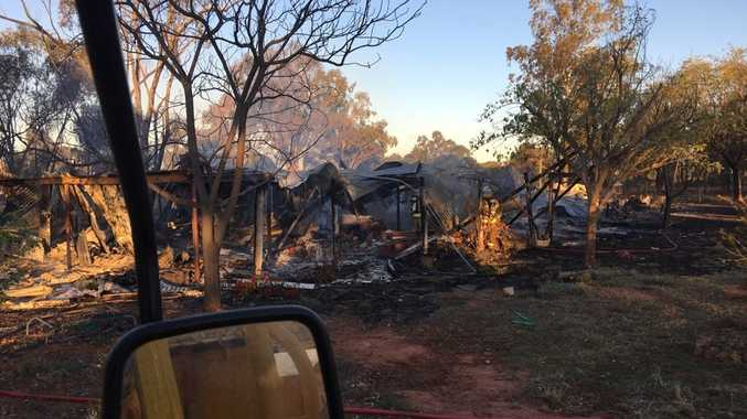 DESTROYED: A Wyandra man was lucky to escape a blaze that destroyed his home outside Charleville last night. He was woken up by pieces of ash falling on his face.