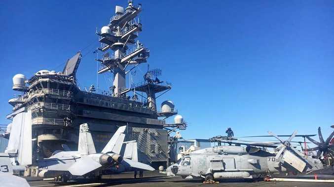 WOW:  Gladstone Region Mayor Matt Burnett was invited on board the USS Ronald Reagan (CVN 76).