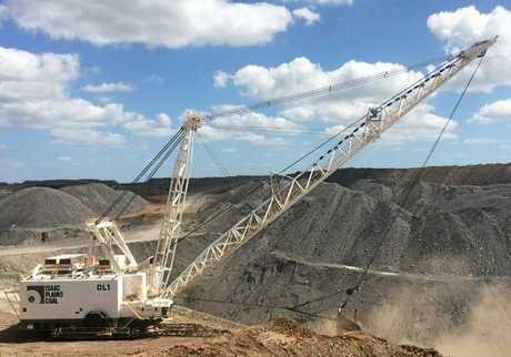 A dragline in operation at Isaac Plains Coal Mine.