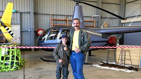 Lucas, 8, and dad, Nathan Kelly, at the 2017 Lismore Aviation Expo.