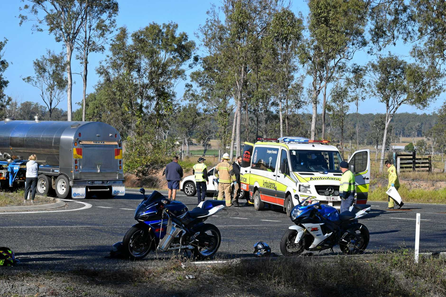 A woman has been injured in a motorbike crash near Curra.