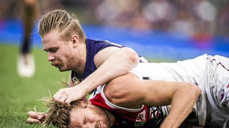 Docker Cam McCarthy got a two-week suspension for this tackle on St Kilda's Sam Gilbert.