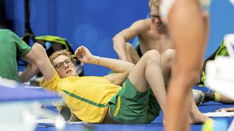Mack Horton relaxes ahead of the men's 1500m freestyle heats at the Swimming World Championships in Budapest.