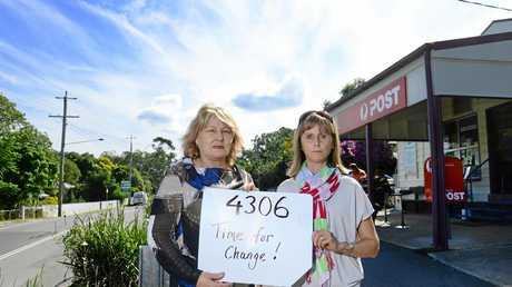 Wendy de Graaf (left) and Simone Karandrews of Karana Downs would like to see a new postcode created instead of 4306.