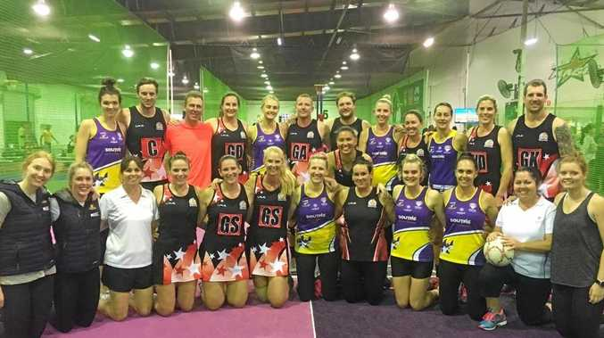 GAME ON: Mackay ISA Magic A Mixed team and the Whitsunday Sharks ladies with special guest player Ben Maxwell and Sunshine Coast Lightning players at the benefit night on Friday.