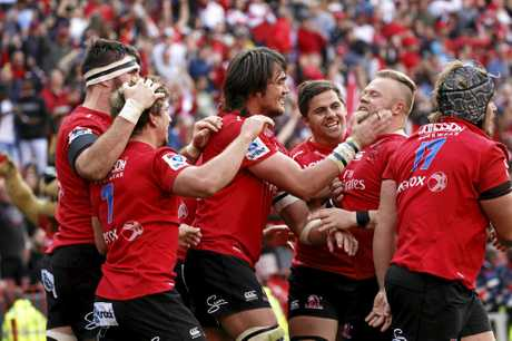 Lions players celebrate a try during their Super Rugby semi-final win over the Hurricanes in Johannesburg.