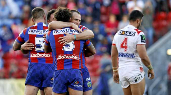 Newcastle players celebrate after beating St George-Illawarra at McDonald Jones Stadium on Saturday.