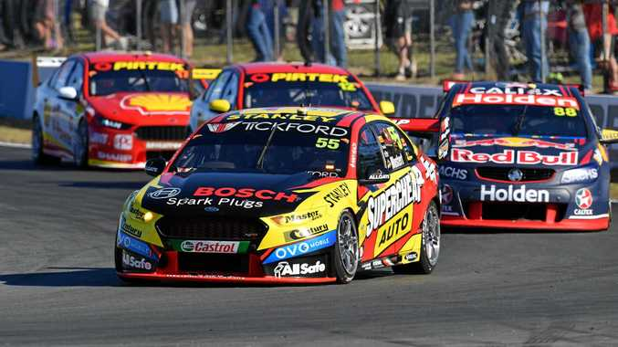 Chaz Mostert leads the way during the V8 Supercars Championship round at Queensland Raceway in Ipswich.