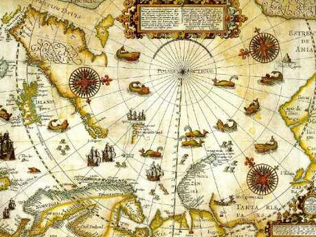 William Barentsz's map of the Arcticich was produced in 1598, with sea monsters.